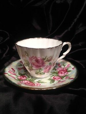 Gladstone Bone China Cup And Saucer Roses With Gold Trim