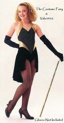 Midnight Blues Dance Costume Skirted Tuxedo Leotard with Gloves Tap Child Large