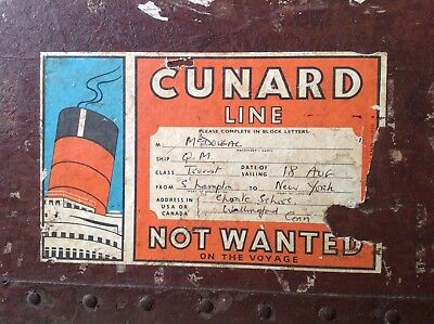 Large Vintage Travel Chest Trunk, Historic, Cunard luggage stickers