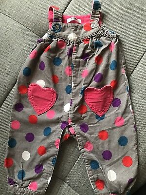 Mini Boden girls spotty dungarees 3-6 months