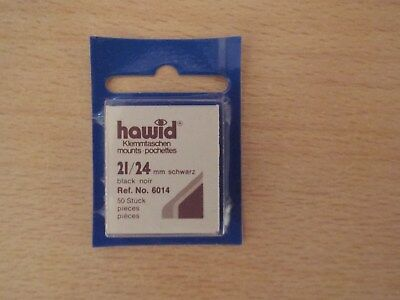HAWID MOUNTS 21x241 mm BLACK PACK OF 50, STAMPS MOUNTS, BOXED.
