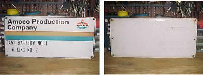 Amoco Production Gas Oil Lease Sign Tank Battery Embossed  Jw King Oklahoma???