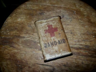 Vintage Johnson and Johnson Red Cross Hinged Metal Band Aid Box