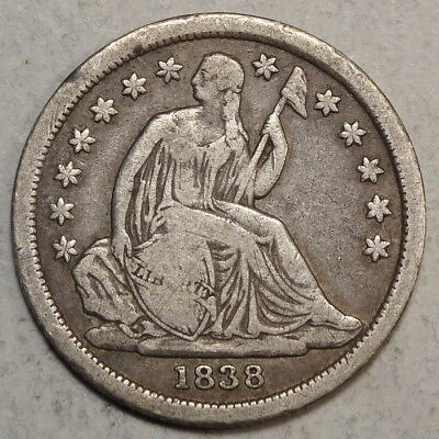 1838 Seated Liberty Dime, Large Stars, Nice Problem Free Type Coin  0415-14