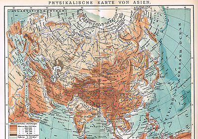 Asien Landkarte 1907 - Physikalische Karte - Physical map of Asia