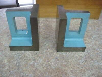 """Pair of Machinist Right Angle Steel Plate~4 3/4"""" x 3 3/4"""" x 3 3/4"""" with Wood Box"""