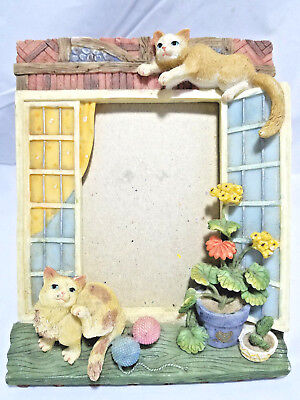Ceramic Cats on Window Ledge 3x5 PHOTO FRAME Potted Flowers Pastel Coloful GIFT