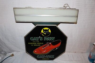 """Rare Vintage 1940's Cat's Paw Shoes Gas Oil 26"""" Lighted Metal Glass Sign~Nice"""