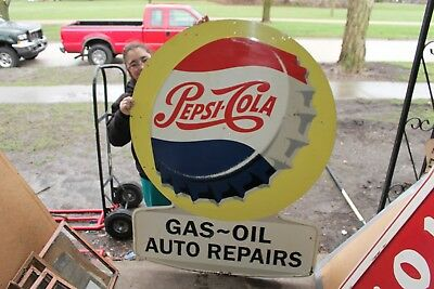 "Large Vintage 1950's Pepsi Cola Soda Pop Gas Station 56"" Embossed Metal Sign"