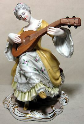 Made In Italy Antique Capodimonte Porcelain Figurine Woman Playing A Lute