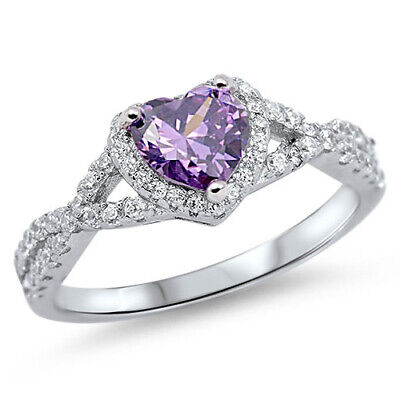 .925 Sterling Silver Heart Amethyst CZ Fashion Promise Ring Size 4-12 NEW