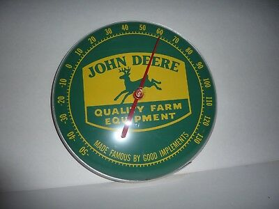 Vintage 12 In. John Deere Round Thermometer Farm Tractor Equipment