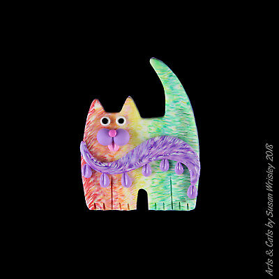 Mini Standing Colorful Kitty Cat with Purple Wave Pin - SWris