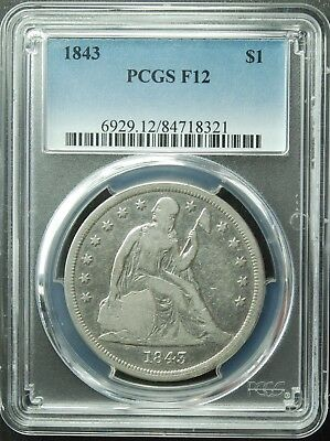 1843 Seated Liberty Dollar, PCGS, F-12, SHIP FREE (More at Store)