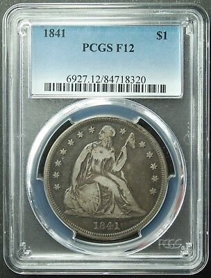 1841 Seated Liberty Dollar, PCGS, F12,, FREE SHIPPING (More at Store)