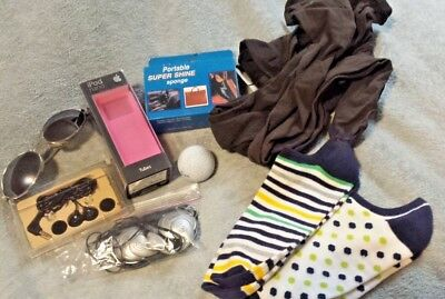 Lot of 8 Miscellaneous 4 Pairs of NEW socks, golf ball, sunglasses Collectible