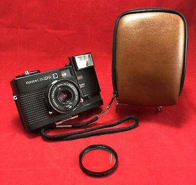 Vintage Konica c35 EF-P Point and Shoot 35mm Camera For Parts Or Repair 38mm f4