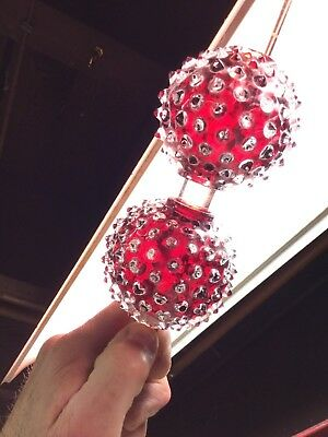 Pair 2 Antique Lightning Rod Balls Ruby Red Flash Glass Hobnail Spiked Pointy