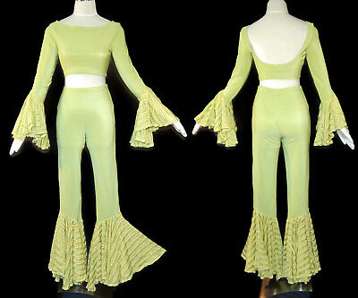 80s 90s Lime Green Bell Bottom and Sleeve Crop Top Pants Set Dance Club XOXO S M