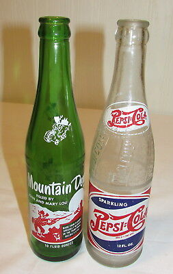 Mountain Dew Hillbilly Soda Bottle FILLED by JOHN and MARY LOU Pepsi Dubuque, IA