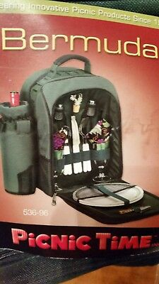 Picnic Time Bermuda Insulated Backpack with Wine Duffel and Service For Two NWT