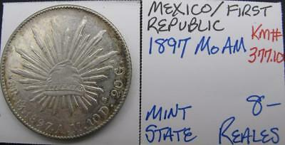 MEXICO 1897 MoAM SILVER 8-REALES! MINTY! KM# 377.10! NICE TYPE COIN! LOOK!