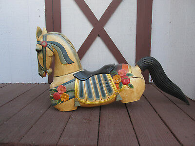Full size wood Carved Horse with no legs! Great Prop for a Store Front!