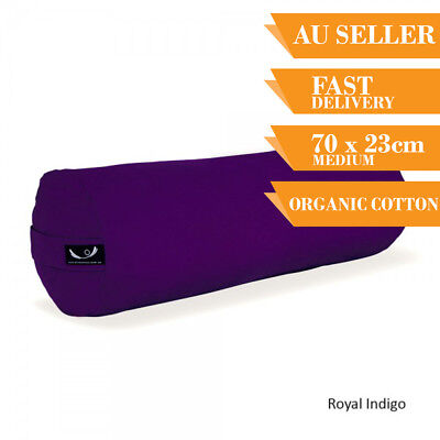Organic Yoga Bolster Back Support Head Support Reading Bolster 75cm Indigo