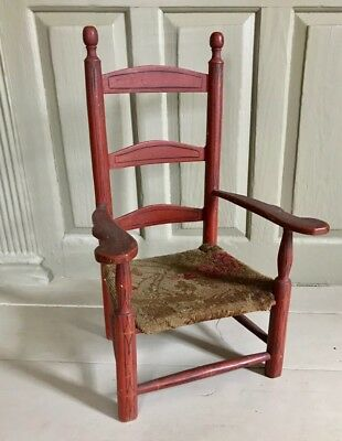 Antique CHILD'S LADDERBACK ARMCHAIR w RED PAINT & PINSTRIPING, c. 1780-1820