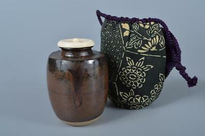 F1461:Japanese Seto-ware Brown glaze TEA CADDY Container High class lid, auto
