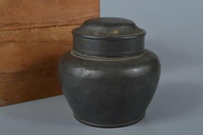 K7841: Japanese XF Old Tin Shapely TEA CADDY Chaire Container, Tea Ceremony