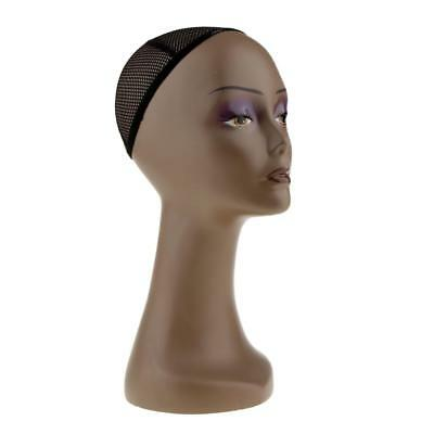 Female Mannequin Head Wigs Display Manikin Model Stand Holder with Cap Black