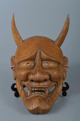K7832: Japan Wood carving Buddhism Traditional Prajna/HANNYA MASK Nohma Kagura