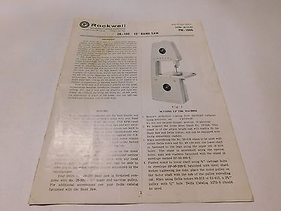 "Vintage 1965 Rockwell 10"" Band Saw 28-100 Model Instructions 6 Pages (Inv #104)"