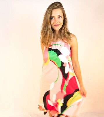 New York and Company Multi-Color Summer Trapeze Halter Dress S