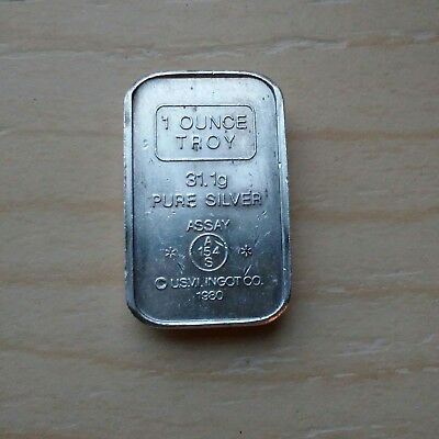 RARE Double Asterisk ** AMARK Stacker 1 oz .999 fine Silver Bar USVI a mark 1980