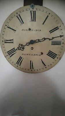 Old enamel clock dial, Newcastle French & son. with quartz movement