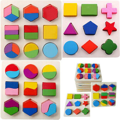 Kid Baby Wooden Geometry Block Puzzle Montessori Early Learning Educational Toy
