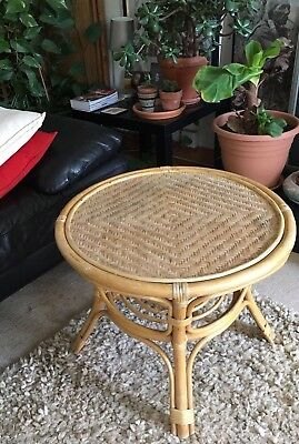 Vintage Retro rattan wicker Bamboo mid century Small Side Table 70's Cool Style