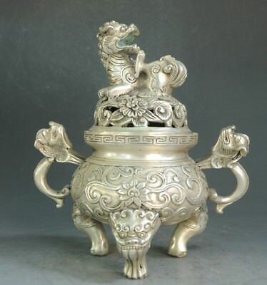 Old Chinese copper plating silver Dragon Beast Pi Xiu Incense Burner f02
