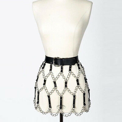 HOT!! Sexy Women Faux Leather Skirt Body Harness Belt Strap Chained Hollow Punk