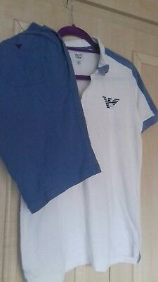 armani boys summer suit shorts and polo age 16