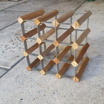 Wooden and Galvanised Metal Wine Rack - holds up to 12 bottles