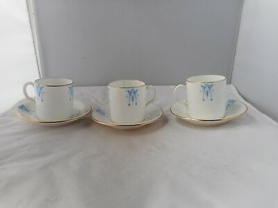 """THREE NEW CHELSEA""""LANCASTER""""COFFEE CANS(5cms high)&SAUCERS(10.5cms diameter)"""