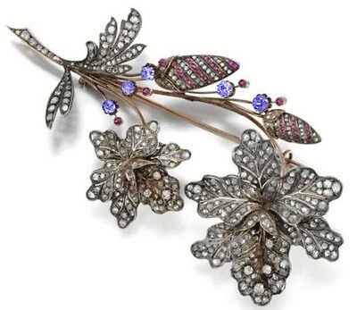 8.30cts ROSE CUT DIAMOND SAPPHIRE RUBY VICTORIAN LOOK 925 SILVER BROOCH PIN