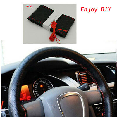 DIY PU Leather Car Steering Wheel Cover With Needles and Thread Hand Sewing