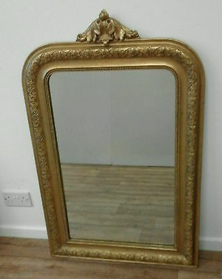 Large Antique French gesso gilded overmantle mirror - original plate glass