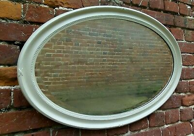 Edwardian vintage oval mirror shabby chic painted in French Grey