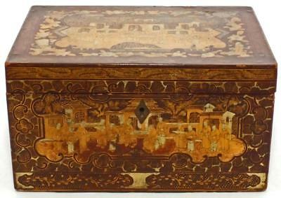 Superb Large Gilded Chinese Lacquer Tea Caddy Mandarin Scenes With Pewter Insert