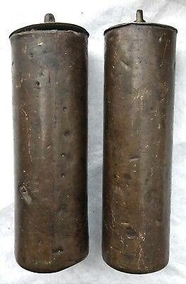 Lovely Pair Of Antique Long Case Grandfather Clock Brass Cased london Weights